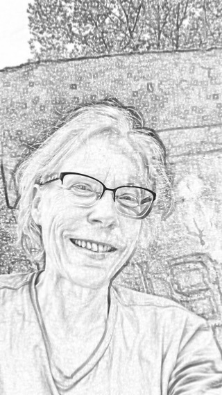 Pencil drawing of mystery author Daisy Pettles